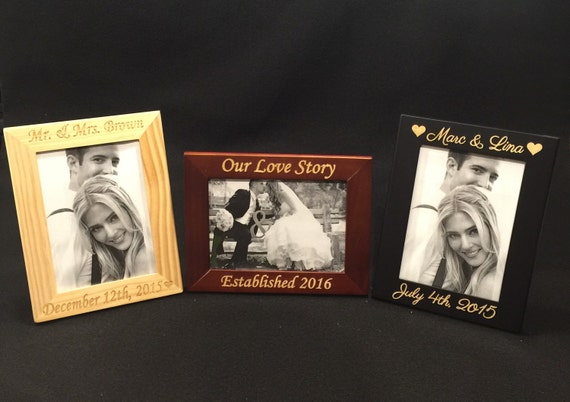 Engraved Picture Frames Wedding Favors : Picture Frame, Engraved Wood Wedding Frame, Custom Photo Frame ...