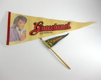 Vintage Elvis Presley ~ Graceland Memphis Pennant Flag and Pennant Flag Pencil ~ TCB ~ The King ~ Elvis Presley Memorbilia