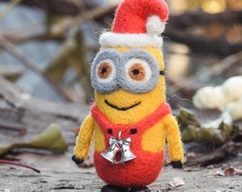 Needle felted Minion, Santa Claus, Christmas ornaments, Christmas Gift