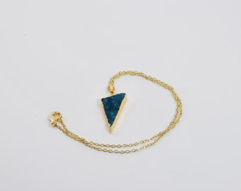 Blue Triangle Crystal Pendant Necklace