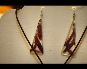 Red Cosmo Petal Pyramid Earrings