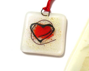 White fused glass heart decoration, modern square drawer knob, tree ornament, hanging red heart suncatcher, wedding favour, DC124,