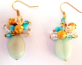 Beautiful amazonite and czech crystals cluster earrings