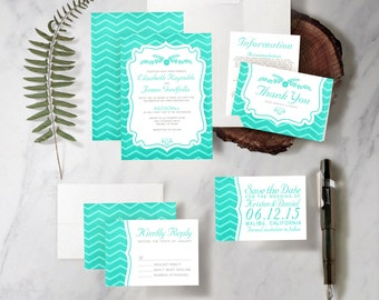 Turquoise Chevron Stripes Wedding Invitation Set/Suite, Printed/Printable Wedding Invitations/Invites, Save the date, Thank You Cards,PDF