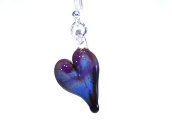 Glass Heart Earrings - Purple Blue - Sterling Silver - Handmade - OOAK