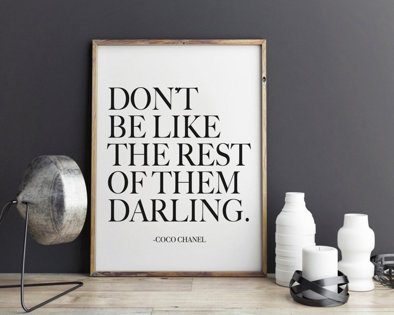 Darling Coco Chanel Quote Fashion Print Fashion art wall