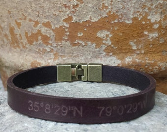 FREE SHIPPING-Engraved Men Bracelet,Personalize Leather Bracelet,Men Leather Bangle,Custom Men Leather Bracelet,GPS Leather Men Cuff