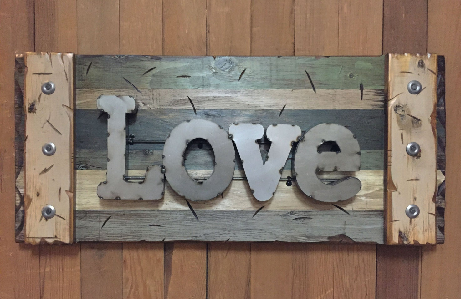 LOVE Rustic Sign Reclaimed Shutter Distressed Industrial