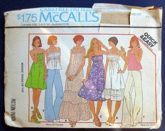 1977 Strappy Ruffled Dress or Top Vintage Pattern, McCalls 5548, Size 6, 8, Bust 30, 31