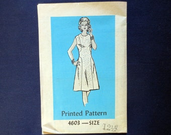 1970s Dress Vintage Pattern, Anne Adams Mail Order 4603, Size 12 1/2, Bust 35