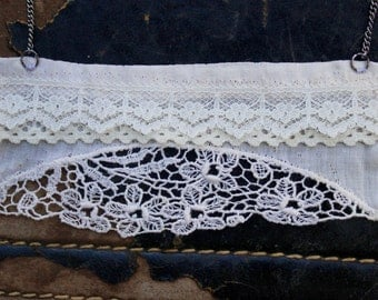 Lace Vintage Handkerchief . boho. Floral . Statement Necklace . Wedding Jewelry . White. Bib Necklace. Simple Jewelry