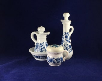 Vintage Avon | Delft Blue | Four-Piece Milk Glass Set