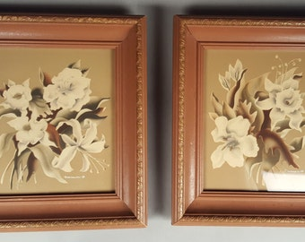 Excellent Pair of 1940s Forties Airbrushed Turner Prints, Flowers Floral Lilies, White Beige, Mid Century Midcentury WWII Pin-Up Pin Up Era