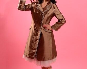 ON SALE- 1960's Jean Lutece silk beaded coat • Vintage custom tailored brown coat