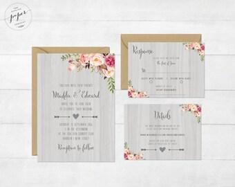 Rustic Wedding Invite Floral Wedding Invitation Wedding Invite Wedding Invite Printable Wedding Invitation Suite Barn I Collection