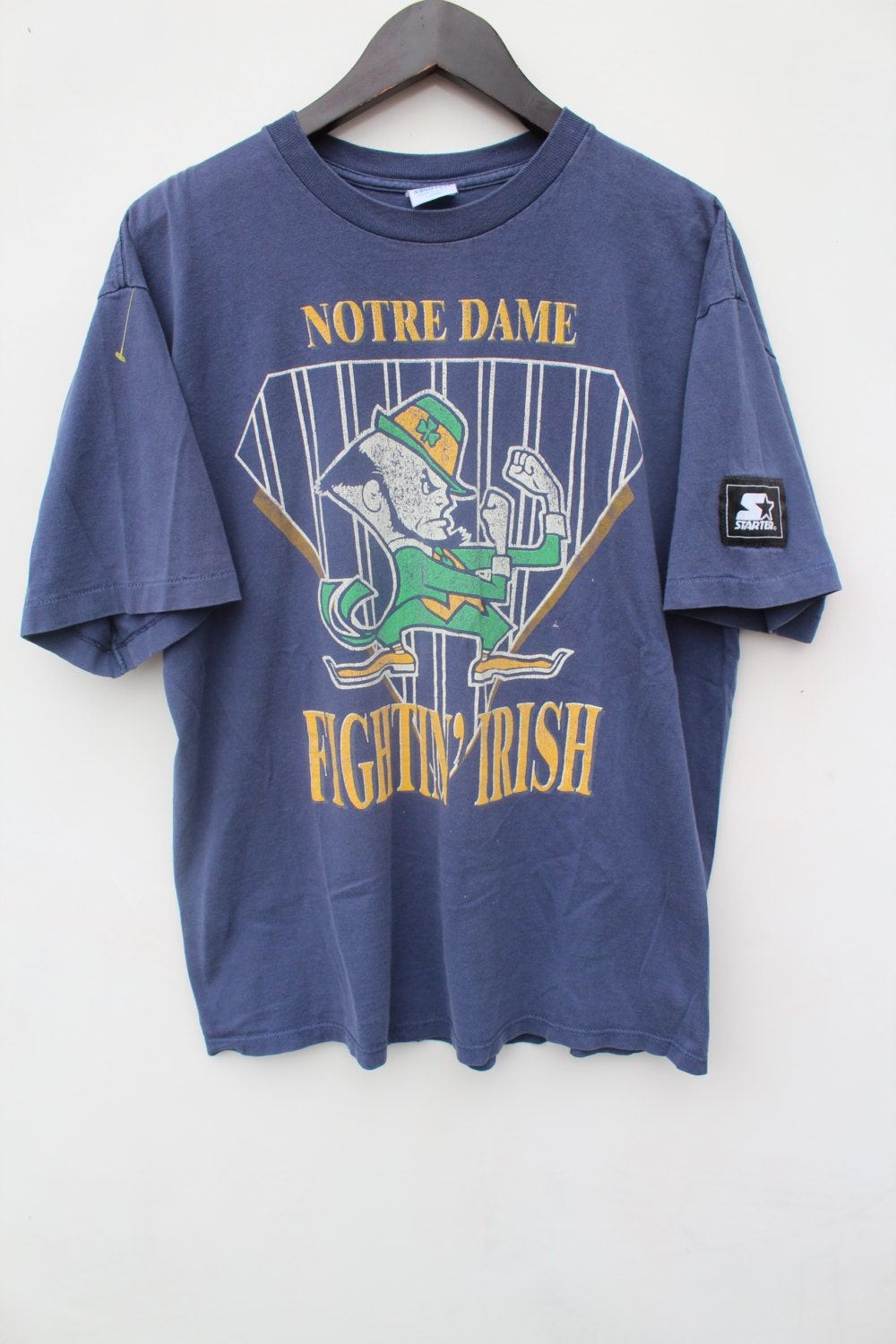 Vintage notre dame t shirt oversized large distressed for Notre dame tee shirts
