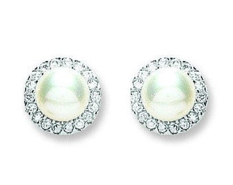 Silver Pearl & Cz Stud Earrings