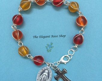 Beautiful, Handmade One Decade Rosary Bracelet in Orange, Yellow, and Red