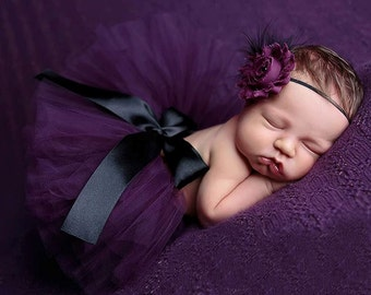 Purple newborn tutu with headband