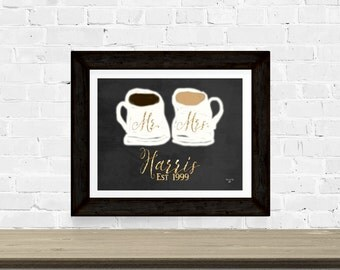 Mr and Mrs - His and Hers Coffee Cups - Art Print - Wedding - Kitchen Decor - White and Gold Mug - Coffee Bar - Custom Gift - Personalized