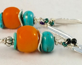 Orange and turquoise earrings / feathers/Southwestern style /Fresh Squeezed