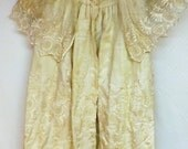 Victorian Christening Baptism Gown Brocade Lace Dress 0 - 6 months