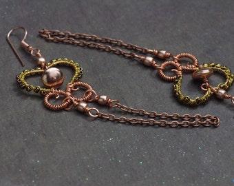 Rose Gold Earrings, Rose Gold Copper Chain and Gold Heart Earrings Long Dangle Earrings