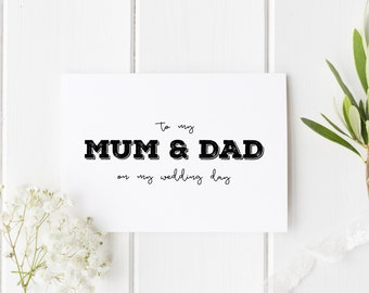 Parents Wedding Day Card, To My Mum And Dad Wedding Day Card, Parents Card, Card For Mom And Dad Wedding Day, To My Parents Wedding Day