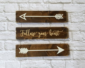Follow Your Heart Rustic Wooden Arrows - 3 Piece Set, Nursery Decor, Wooden Arrow, Arrow Decor, Baby Room Decor, Wooden Arrow Wall Art
