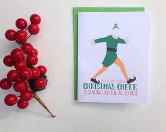 """Elf Holiday Card Set of 10 - Elf """"Best way to spread christmas cheer is to sing it loud for all to hear"""" - Elf christmas card set of 10"""
