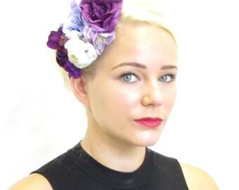 Purple & Ivory White Flower Fascinator Vintage Races Hair Clip Orchid 1940s Y17