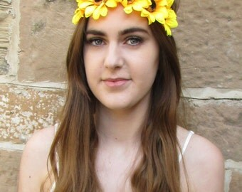 Large Sunflower Headband Vintage Flower Festival Boho Yellow Daisy Beach Big P05