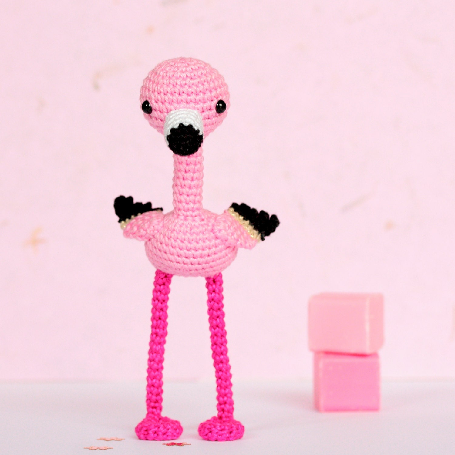 Pink flamingo home decor crochet flamingo decor by socroch on etsy - Flamant rose decoration ...