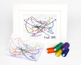 Babys first drawing - Embroidered art - Baby first scribble - Baby keepsake ideas - Sentimental gift ideas - Keepsake artwork gifts