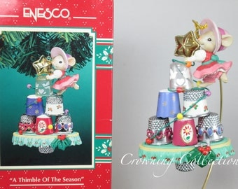 Enesco A Thimble of the Season Ornament Mice Sewing Thimble Tree Tailor Made Series Treasury of Christmas Vintage