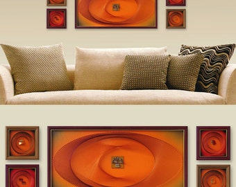 Superbe Orange Wall Art Set, Zen Modern Wall Decor, 3D Abstract String Art, Framed