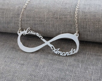 Infinity Name Necklace,Silver Infinity Necklace,Infinity Double Name Necklace,Infinity Symbol Necklace,Eternity Necklace,Couple Necklace