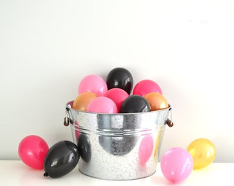 "5"" Mini Balloons - Kate Spade Inspiration // 12 Pack // Wedding - Birthday Decor // Small Tiny Latex // Black Hot Pink Gold //"