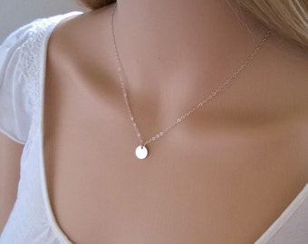 Sterling silver disc necklace; small silver dot necklace; silver disc necklace; simple silver necklace