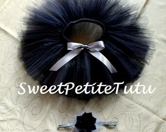 Black and Silver tutu set, Black and grey tutu, Headband included, Holiday tutu set, Sweet Petite Tutu, Preemie, Newborn to 14/16 tutu set