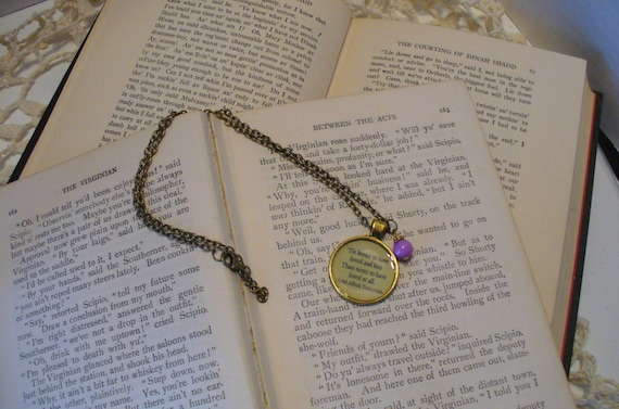 Quote Necklace, Book Necklace, Tennyson Necklace, Book Nook, Tis Better to Have Loved and Lost, Literature Necklace, MarjorieMae