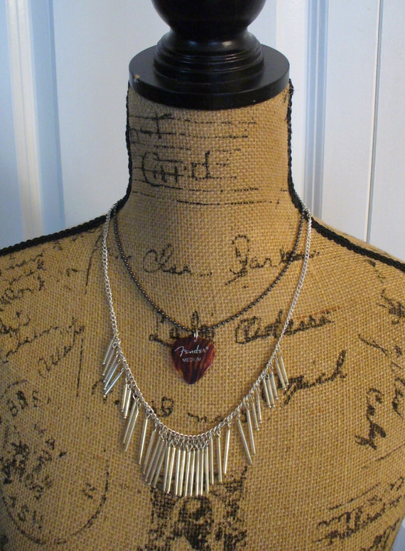 Vintage Guitar Pick Necklace, Vintage Fender Medium Guitar Pick, Multi Chain Necklace, Double Layer Necklace, One of a Kind, MarjorieMae