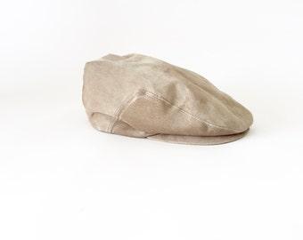 Vintage Leather Newsboy Cap / Leather Flat Cap / Stetson Hat /  Large Newsboy Hat / Large Hat / Newsboy / 7 1/4 - 7 3/8
