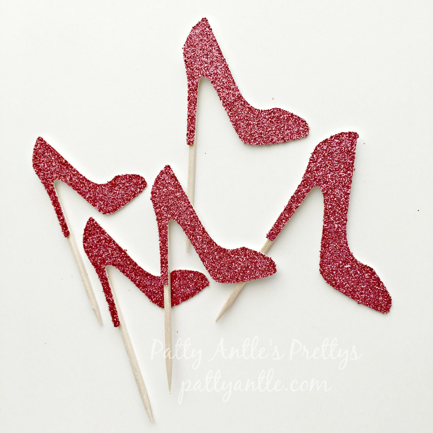 glitter high heel shoes cupcake toppers by pattyantlesprettys