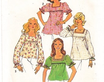 Vintage Smock Top Sewing Pattern Square Neckline Top Loose-Fitting Top Blouse Vintage Simplicity Sewing Pattern 6900 Size 6 & 8