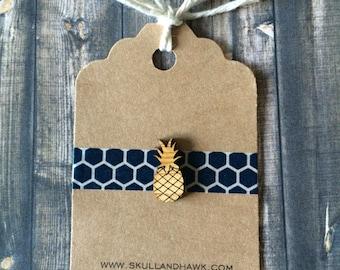 Rustic Pineapple Lapel Pin / Tie Tack - Laser Cut Wood - Tiny