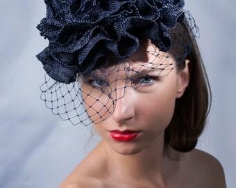 Elegant navy hat, veiled derby headpiece, Royal Ascot fascinator, Kentucky derby hat, Big flower fascinator, Hat, Haute couture hat, rose