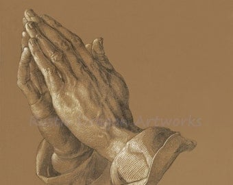 "Albrecht Durer ""Praying Hands"" 1508  Reproduction Digital Print Religion Religious Praying Christianity Jesus Christ"