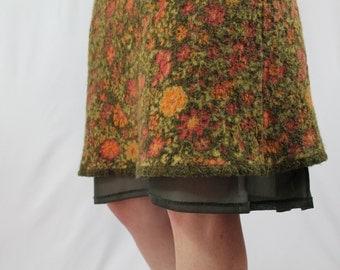 Wool and Chiffon Flutter Hem 70s Flower Child High Waisted Skirt