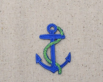 Small - Blue Nautical Anchor - Green Rope - Iron on Applique - Embroidered Patch - 696501D